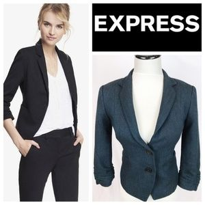 Express Teal Black Ruched Sleeve Blazer